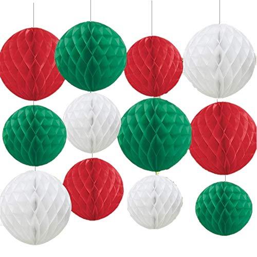 KAHEIGN 12 Piezas Bolas De Panal De Decoración Navideña, 3 Colores Papel De Seda Grande Pompones Pompones Bolas De Flores Para Suministros De Fiesta De Navidad Accesorio Colgante De Navidad