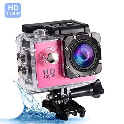 VBESTLIFE Action Cam Videocamera Subacquea Ultra HD Sport Action Camera Mini DV con Custodia Impermeabile da 7 Colori(Rosa)
