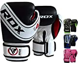 RDX Kids Boxing Gloves for Training & Muay Thai - Maya Hide Leather Junior 4oz, 6oz Mitts for Sparring, Fighting & Kickboxing – Good for Youth Punch Bag, Grappling Dummy and Focus Pads Punching