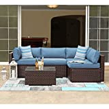 COSIEST 5-Piece Outdoor Patio Furniture Chocolate Brown Wicker Executive Sectional Sofa w Heritage Blue Thick Cushions, Glass-Top Coffee Table, 2 Turquoise Pillows Incl. Waterproof Cover, Clips