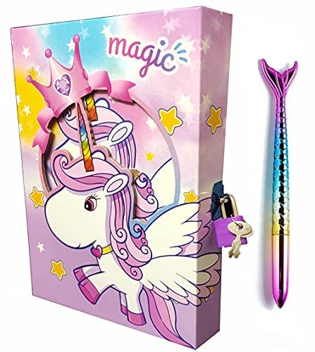 SHREE TECHNESH® Angel Printed Diary with Lock for Girls, Lock Diary with Fish Pen for Girls, Diary with Lock and Key, Password Lock Diary for Girls