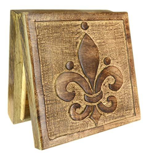 Piquaboo Caja de Flor de lis Cuadrada Hecha de Madera sólida para Guardar baratijas 17x17cm