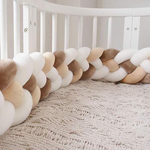 RedKids - Tour de lit pour bébé - 2.2/3M - Tour de lit - Tressé - Pour lit de bébé - Décoration pour lit d'enfant, Beige, marron clair, blanc., 2.2M-1400G