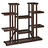 SONGMICS Plant Stand, Tall Solid Wood Plant Holder Rack with 17 Spots for Flower Pots, Large Multi-Tier Indoor Plant Shelf, for Living Room, Balcony, Rustic Dark Brown UGPS002B01
