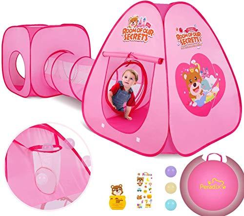 Peradix Kinderspielzelt mit Spielhaus Tunnel und Zelt Tasche 3 in 1 Pop Up Spielzelt, Prinzessin Zelt für Jungs mädchen Zuhause & im Garten