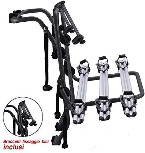Generico RVS Portabici per Auto, Mak 3, Posteriore, 3 Bici, in Alluminio, preassemblato, per Fiat Panda 4x4 20042011