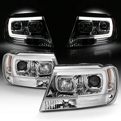 For 1999-04 Jeep Grand Cherokee Full LED Daytime Running Lamp Bar Projector Headlights Chrome Housing Clear Lens Set