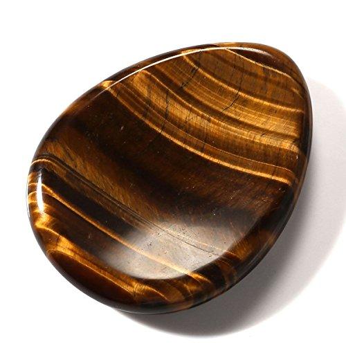 CrystalTears Tiger's Eye Gemstone Thumb Worry Stone Chakra...