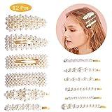 Pinces à cheveux perle,Winpok 12 Pcs Cheveux Barrette Artificielle Pince...