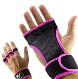 Mava Sports Workout Gloves with Wrist Wraps Support and Full Palm Silicone Padding - Perfect for Weight Lifting,Cross Training, Pull Ups, WOD and Powerlifting for Men and Women (Pink, Small)