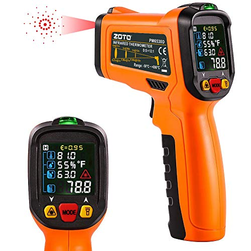 Digital Laser Infrared Thermometer,ZOTO Non Contact Temperature Gun Instant-read -58 to 1472with LED Display K-Type Thermocouple for Kitchen Cooking BBQ Automotive and Industrial PM6530D Thermometer