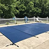 WaterWarden Safety Inground Pool Cover, Fits 16' x 34', Blue Mesh – Easy Installation, Triple Stitched for Maximum Strength, Includes All Needed Hardware, SCMB1634, Rectangle