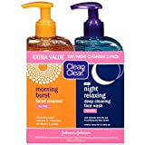 Clean & Clear 2-Pack Day and Night Face Cleanser Citrus Morning Burst Facial Cleanser with Vitamin C and Cucumber, Relaxing Night Facial Cleanser with Sea Minerals, Oil Free & Hypoallergenic Face Wash, 8 Fl Oz (Pack of 2)