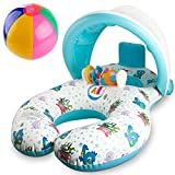 R • HORSE Baby Pool Float - Baby Swim Float Pool Toy with Mommy Swim Ring for 8 - 36 Months Old Baby - Removable Canopy with Water-polo and Fluorescent Wristband
