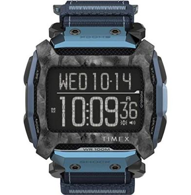 Timex Command Shock Digital CAT 54mm Watch – Blue & Gray with Fast Wrap Strap