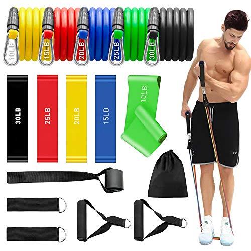 Elastici Fitness - 5 Elastiche Bande di Resistenza, con 5 fasce elastiche di resistenza, Maniglie, ancoraggi per Porta, Passanti per i Piedi, per Attrezzi da Fitness, Yoga, Home Gym