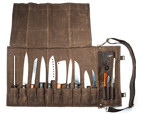 Chef Knife Roll Bag (13 Slots) | Stores 10 Knives, 3 Kitchen Utensils...