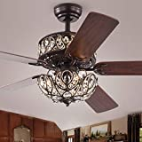 52' Crystal Ceiling Fan with Light Fixture, Dual Layer Crystal 6-light Chandelier, 3 Speed Remote Fandelier,for Home/farmhouse/Living Room/Bedroom/Kitchen