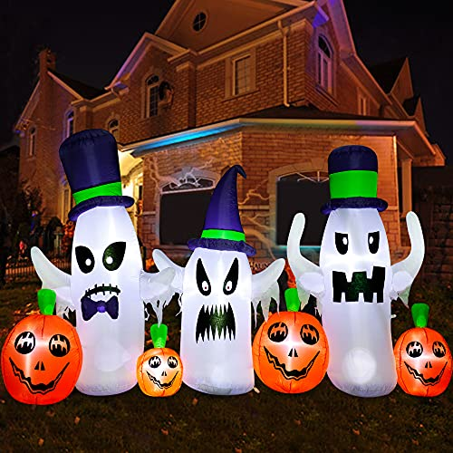 SEASONJOY 9Ft Long Halloween Inflatables Ghosts with Pumpkins Decorations, Halloween Outdoor Inflatables with Build-in LED Lights, Blow up Halloween Decorations for Yard Garden Décor