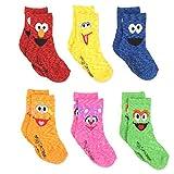 Sesame Street Elmo Boys Girls Multi Pack Crew Socks with Grippers (4T-5T, Abby Zoe 6 pk)