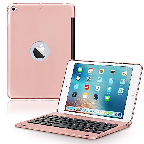 ONHI Wireless Keyboard Case for iPad Mini 5 / Mini 4 Keyboard Case Plastic alloy shell Smart Folio Case Auto Sleep / Wake, Silent Typing (Mini 4/5 Rose gold)