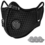 AstroAI Reusable Fold-Flat Dust Face Mask with Filters - Personal Protective Adjustable for Running, Cycling, Outdoor Activities(Black, 1 Mask + 3 Activated Carbon Filters Included)
