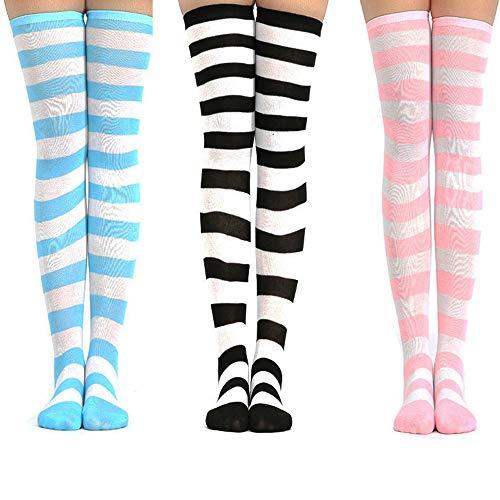 3 paia calzini al ginocchio set carino a strisce per Donna ragazza donne ragazze adolescenti, kawaii colorato bianco overknee calze lunghe arricciate alte coscia per carnevale cosplay (blu rosa nero)