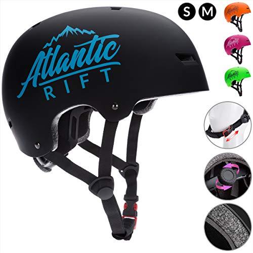 Deuba Atlantic Rift Skaterhelm Kinder Schwarz Verstellbarer Kinngurt Größe M BMX Helm Kinderhelm Skatehelm Scooterhelm
