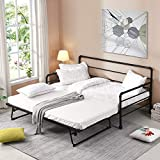 P PURLOVE Twin Size Metal Daybed with Adjustable Trundle, Pop Up Trundle Bed, No Box Spring Need,Black