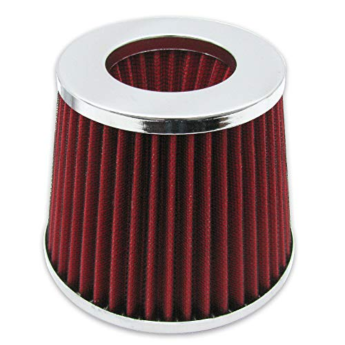 Air Intake UNIVERSAL FITMENT | Red 3 Inch Air Filter Cold Intake Chrome Inlet Short Ram Round Cone KN Type by IKON MOTORSPORTS