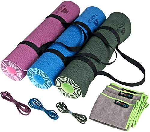 YogiMall 3-in-1 Non-Slip Yoga Mat with Carry Strap and Hand...