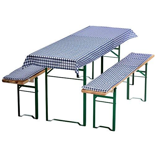 DILUMA Auflagen-Set für Mini Bierzeltgarnitur Kariert 3-teilig Tischdecke 130 x 70 cm für 110 x 50 cm Biertische und 2 gepolsterte Bankauflagen 110 x 25 cm, Farbe:Blau