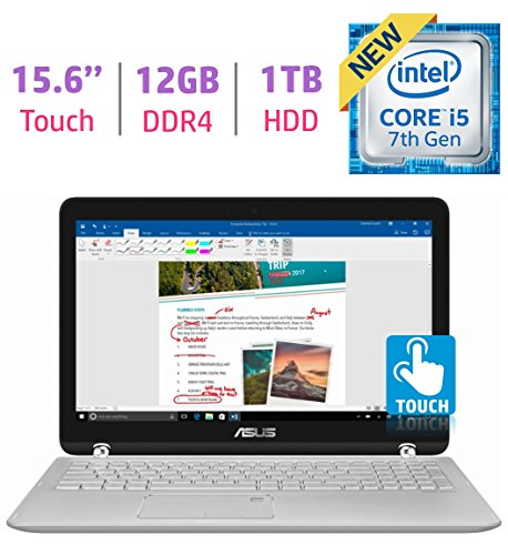 ASUS 15.6' Q504UA-BI5T26 2-in-1 Touchscreen FHD 1080p Laptop PC, 7th Intel Core i5-7200u, 12GB DDR4 SDRAM, 1TB HDD, Built-in fingerprint reader, Windows Ink Capable Display, Backlit Keyboard, Windows