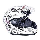 TCT-MT Helmet DOT Flip Up Full Face Adult Street ATV Dirt Bike White &Pink Butterfly Helmet(Large)