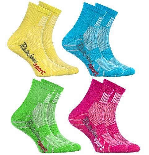 Rainbow Socks - Ragazza Ragazzo Colorate Calzini Sportivi di Cotone - 4 Paia - Amarillo Turquesa...