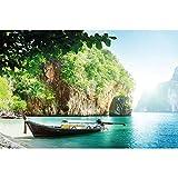 GREAT ART Papier Peint – Bateau de pêcheur dans la Baie Tropicale –...