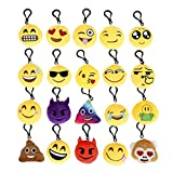Cusfull Lot de 20 Mini Emoji Porte-clés en Peluche Mignon Émoticône...