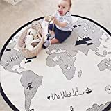 53 Inches Adventure World Map Pattern Baby Crawling Mats Game Blanket Floor Playmats Kids Infant Child Activity Round Rug