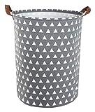 ESSME Laundry Hamper,Collapsible Canvas Waterproof Storage Bin for Kids, Nursery Hamper,Gift Baskets,Home Organizer (Grey Triangle)