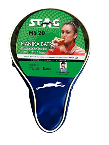 Stag Manika Batra MS-20 Table Tennis Racquet | 156 grams | Beginner | ITTF Approved Rubber | Multi- Color