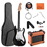 ADM Electric Guitar Beginner Kit 39 Inch Full Size Guitar Package with Amplifier, Bag, Capo, Strap, String, Tuner, Cable and Picks (Black)