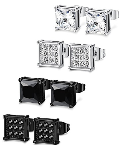 FIBO STEEL 4 Pairs Stainless Steel Stud Earrings for Men Women Ear Piercing CZ Inalid,6MM