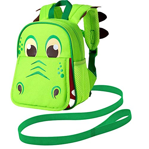 Leash Backpack, 9.5' Toddler Dinosaur Bag - Harness Safety with Removable Tether