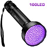 BRIONAC UV Black Light Flashlight, 100 LED 395nm Wavelength for Pet (Cat/Dog) Urine Detector, Dry Stains, Bed Bug and Scorpion with 6AA Batteries (Not Included), Matching with Pet Odor Eliminator