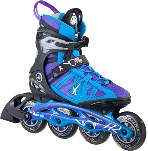 K2 Skate Women's Vo2 90 Pro Inline Skates, Black/Blue/Purple, 7