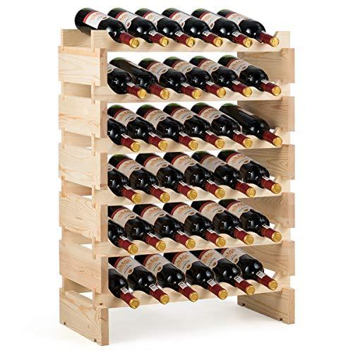 Goplus Scaffale Portabottiglie con 6 Ripiani, Cantinetta per 36 Bottiglie di Vino, Porta Vino da Bar e Cantina, di Pino, Colore Naturale, 63x28x85 cm