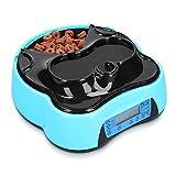 Navaris Dispensador automático de Comida para Perro con Bebedero - Comedero para Perros y Gatos con 4 compartimientos - Dispensador de croquetas