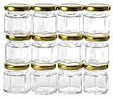 GoJars Hexagon Glass Jars for Gifts, Weddings, Honey, Jams, and More
