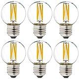 Dimmable g16.5 led Bulb 40W g16 1/2 led Edison Bulb 2700K 4W e26 led Globe Bulb for Ceiling Fan,Chandelier,Vanity Light Bulb AC120V 400lm 6Pack