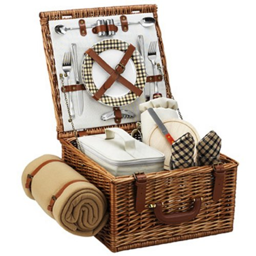 Picnic at Ascot Original Cheshire English-Style Willow Picnic Basket with Service for 2 and Blanket- Designed, Assembled & Quality Approved in the USA